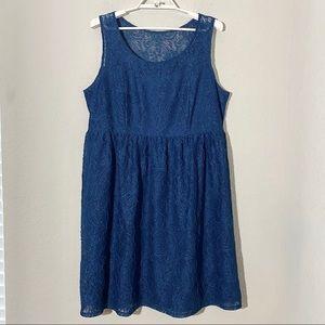 Lane Bryant Lace Babydoll Skater Dress Blue Sz 16